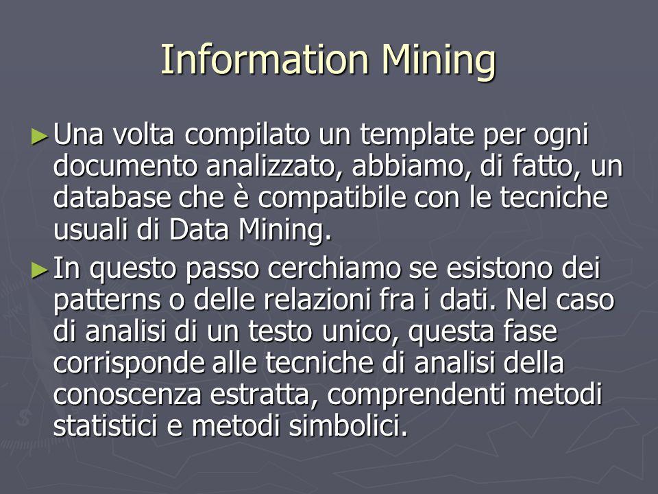 Information Mining ► Una volta compilato un template per ogni documento analizzato, abbiamo, di fatto, un database che è compatibile con le tecniche u