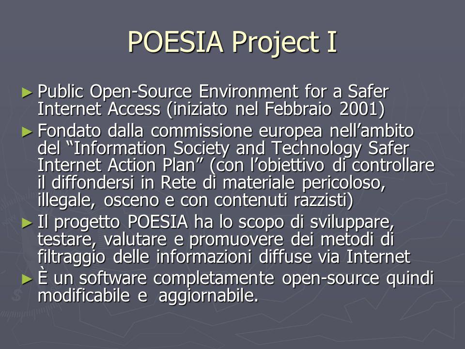 POESIA Project I ► Public Open-Source Environment for a Safer Internet Access (iniziato nel Febbraio 2001) ► Fondato dalla commissione europea nell'am