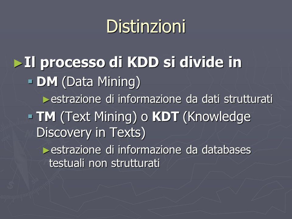 Distinzioni ► Il processo di KDD si divide in  DM (Data Mining) ► estrazione di informazione da dati strutturati  TM (Text Mining) o KDT (Knowledge