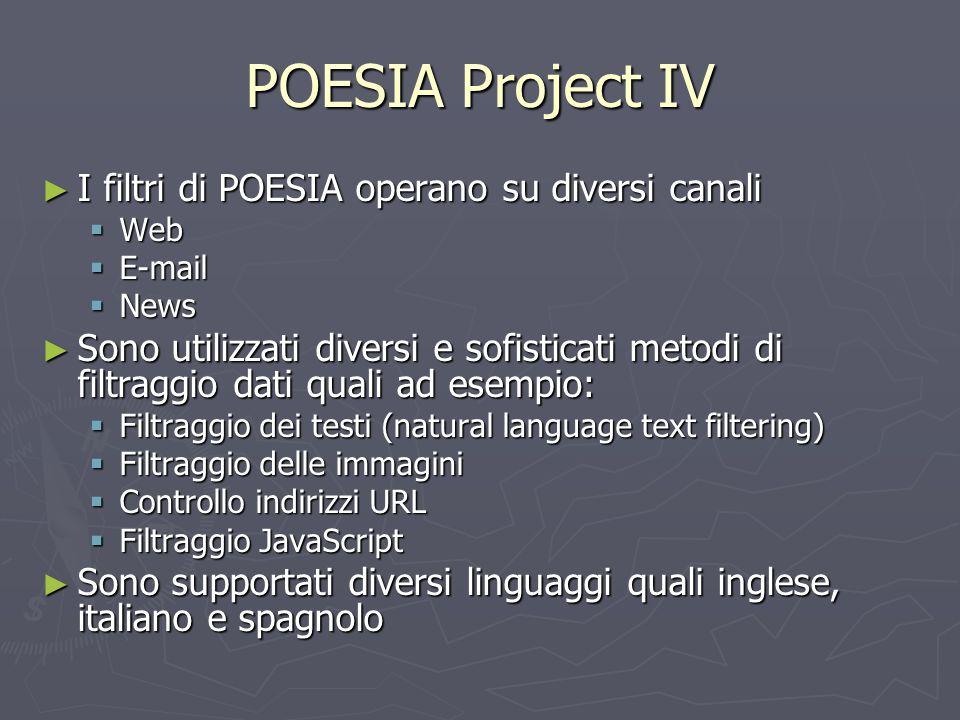 POESIA Project IV ► I filtri di POESIA operano su diversi canali  Web  E-mail  News ► Sono utilizzati diversi e sofisticati metodi di filtraggio da