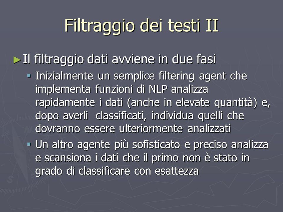 Filtraggio dei testi II ► Il filtraggio dati avviene in due fasi  Inizialmente un semplice filtering agent che implementa funzioni di NLP analizza ra