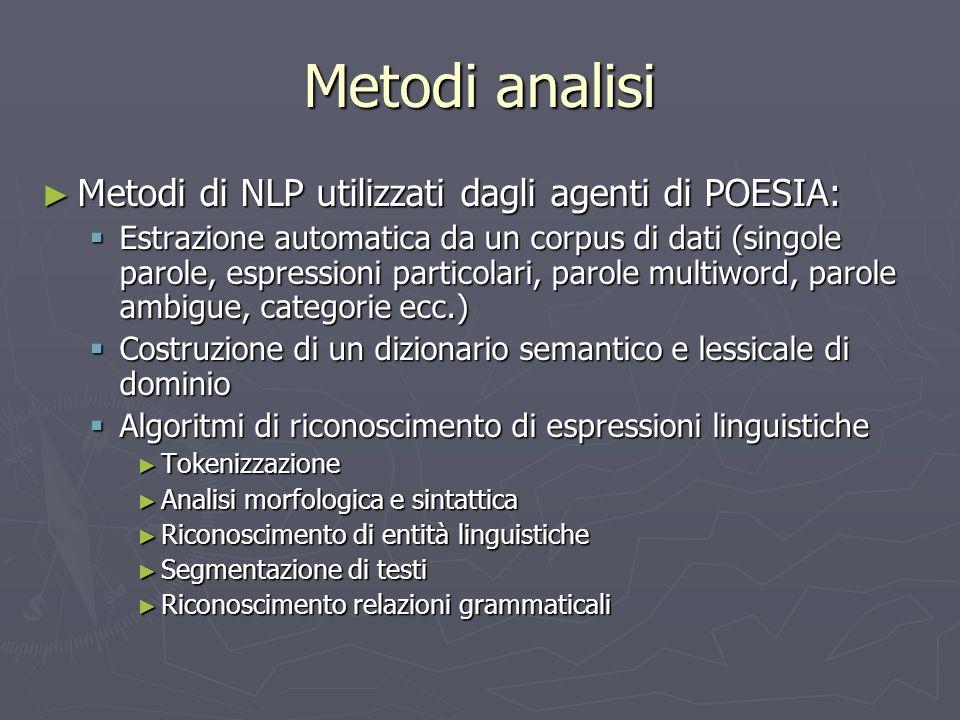 Metodi analisi ► Metodi di NLP utilizzati dagli agenti di POESIA:  Estrazione automatica da un corpus di dati (singole parole, espressioni particolar