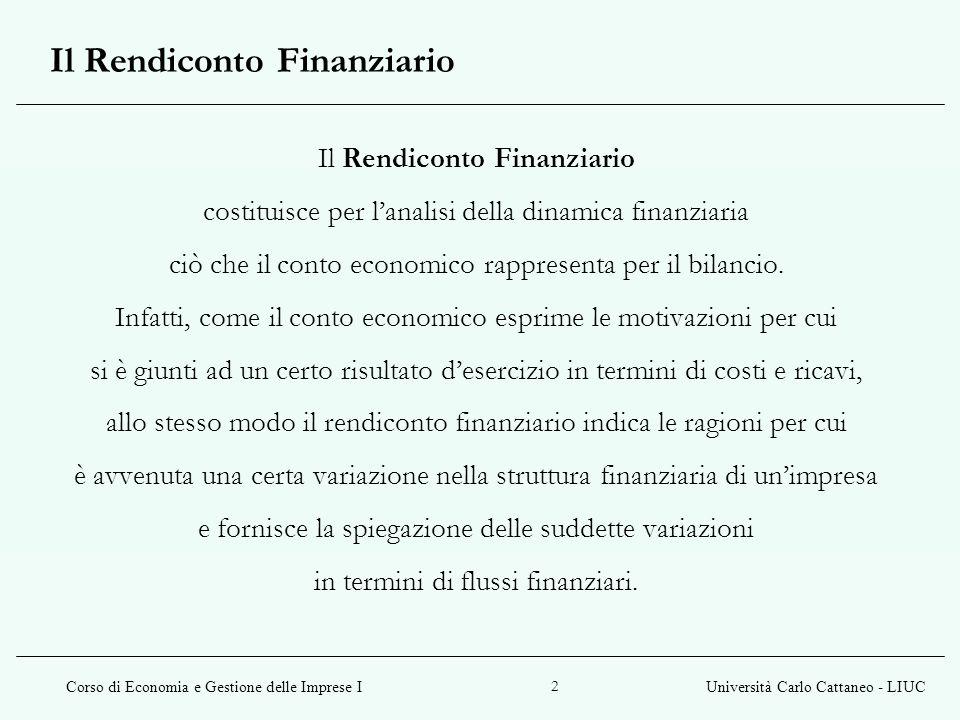 Corso di Economia e Gestione delle Imprese IUniversità Carlo Cattaneo - LIUC 3 Il Rendiconto Finanziario consente, completando le informazioni fornite dal prospetto Fonti/Impieghi, di comprendere le ragioni delle variazioni avvenute a livello finanziario.