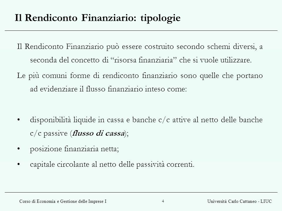Corso di Economia e Gestione delle Imprese IUniversità Carlo Cattaneo - LIUC 4 Il Rendiconto Finanziario può essere costruito secondo schemi diversi,