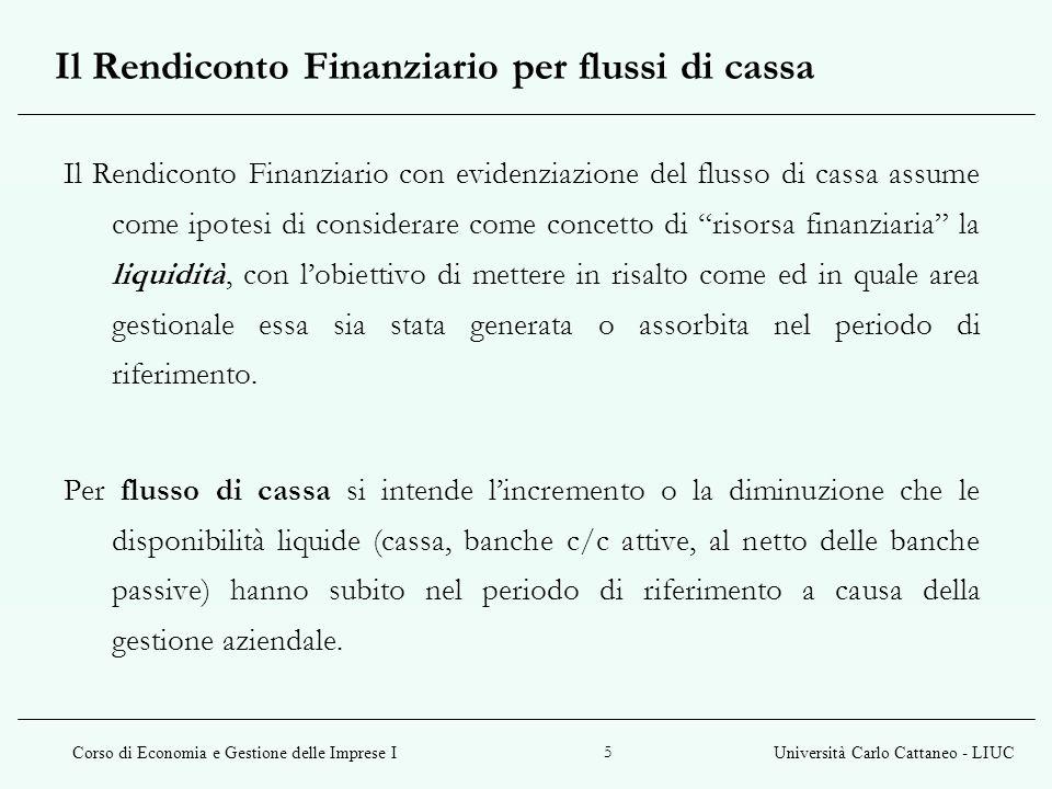 Corso di Economia e Gestione delle Imprese IUniversità Carlo Cattaneo - LIUC 5 Il Rendiconto Finanziario con evidenziazione del flusso di cassa assume
