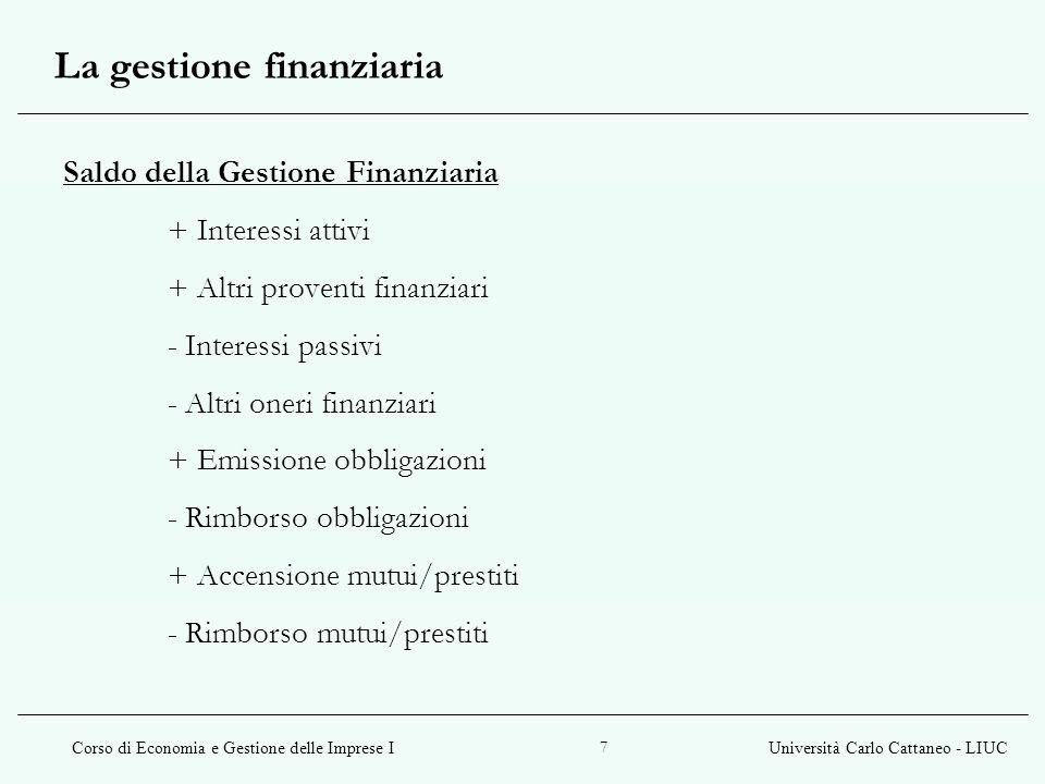 Corso di Economia e Gestione delle Imprese IUniversità Carlo Cattaneo - LIUC 8 Saldo della Gestione Patrimoniale + Aumenti di capitale + Versamento soci c/capitale - Distribuzione dividendi e riserve - Riduzioni di capitale La gestione patrimoniale