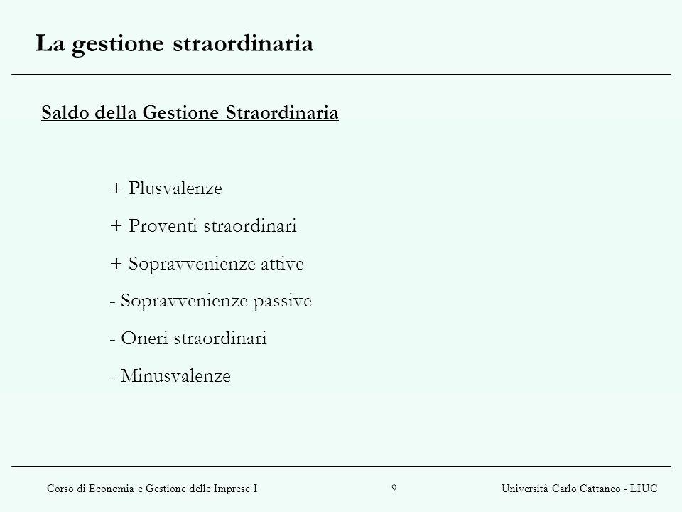 Corso di Economia e Gestione delle Imprese IUniversità Carlo Cattaneo - LIUC 9 Saldo della Gestione Straordinaria + Plusvalenze + Proventi straordinar