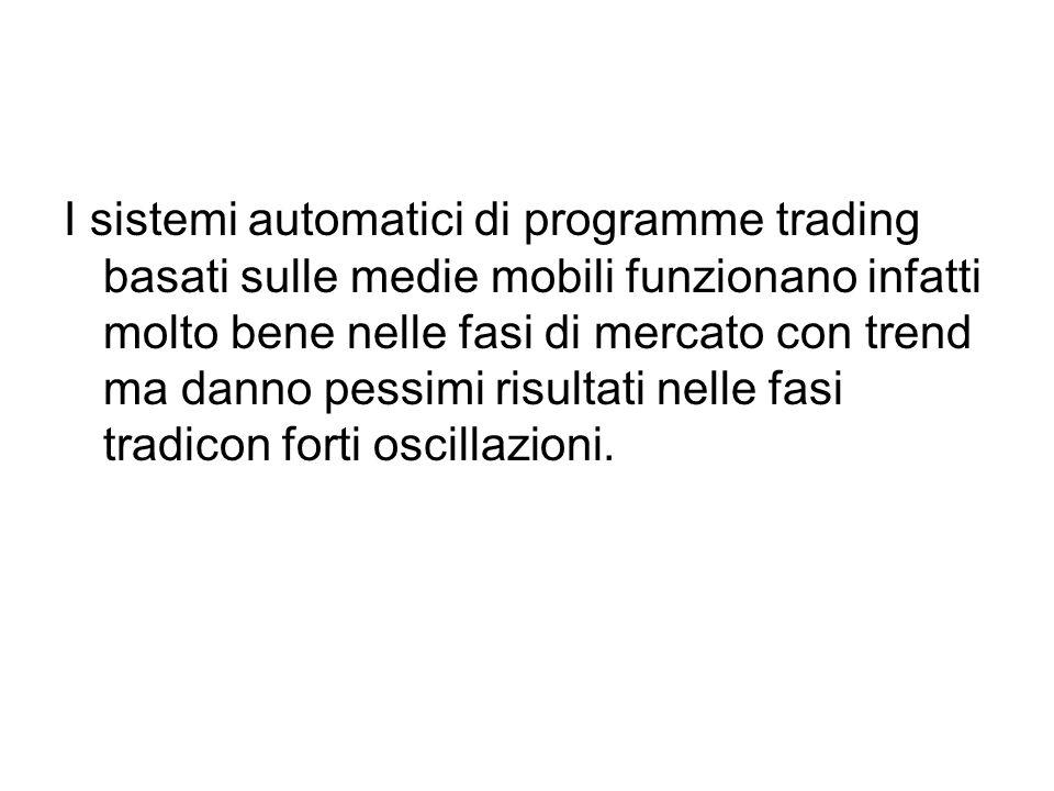 I sistemi automatici di programme trading basati sulle medie mobili funzionano infatti molto bene nelle fasi di mercato con trend ma danno pessimi risultati nelle fasi tradicon forti oscillazioni.
