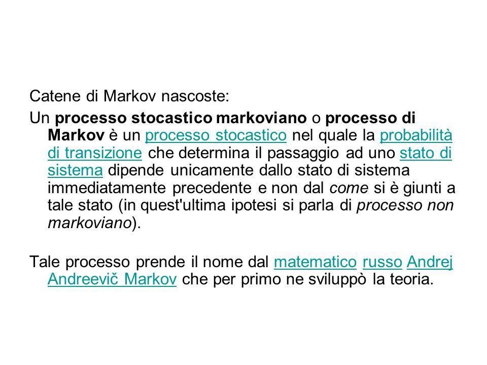 Catene di Markov nascoste: Un processo stocastico markoviano o processo di Markov è un processo stocastico nel quale la probabilità di transizione che determina il passaggio ad uno stato di sistema dipende unicamente dallo stato di sistema immediatamente precedente e non dal come si è giunti a tale stato (in quest ultima ipotesi si parla di processo non markoviano).processo stocasticoprobabilità di transizionestato di sistema Tale processo prende il nome dal matematico russo Andrej Andreevič Markov che per primo ne sviluppò la teoria.matematicorussoAndrej Andreevič Markov