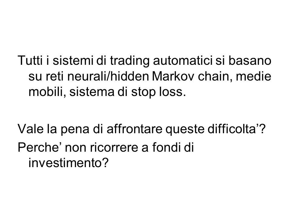 Tutti i sistemi di trading automatici si basano su reti neurali/hidden Markov chain, medie mobili, sistema di stop loss.