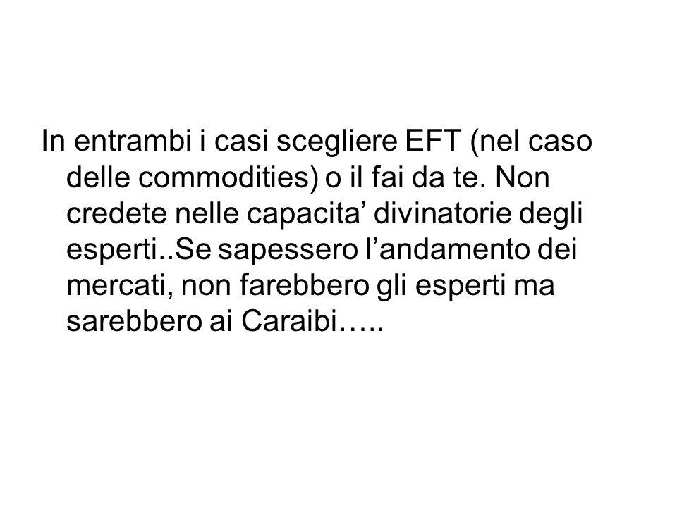 In entrambi i casi scegliere EFT (nel caso delle commodities) o il fai da te.