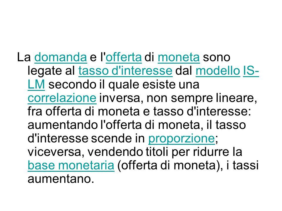 La domanda e l offerta di moneta sono legate al tasso d interesse dal modello IS- LM secondo il quale esiste una correlazione inversa, non sempre lineare, fra offerta di moneta e tasso d interesse: aumentando l offerta di moneta, il tasso d interesse scende in proporzione; viceversa, vendendo titoli per ridurre la base monetaria (offerta di moneta), i tassi aumentano.domandaoffertamonetatasso d interessemodelloIS- LM correlazioneproporzione base monetaria