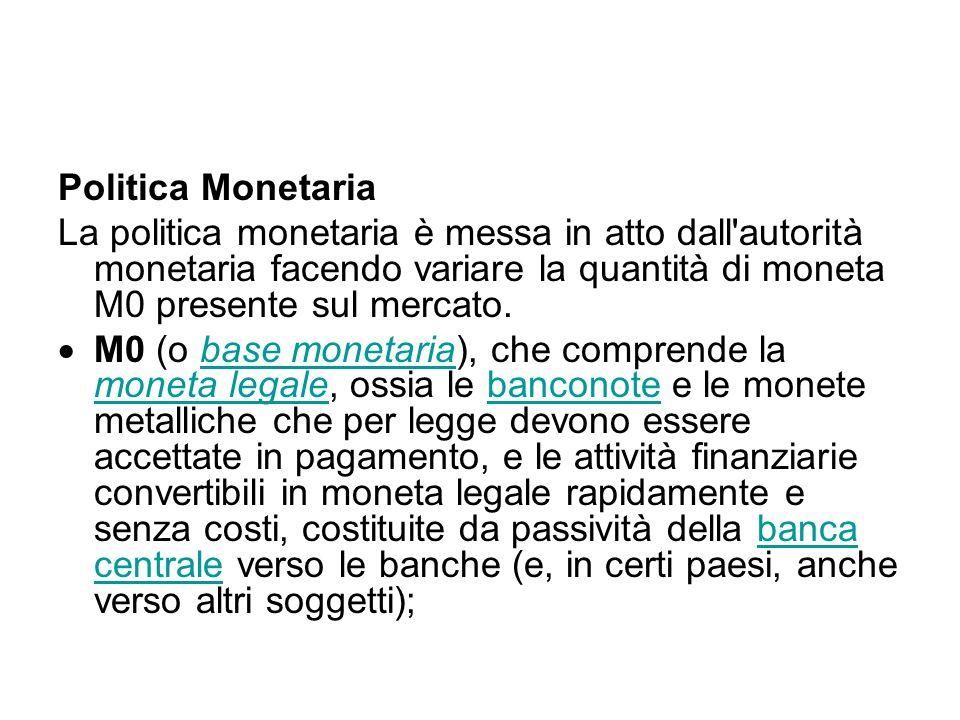 Politica Monetaria La politica monetaria è messa in atto dall'autorità monetaria facendo variare la quantità di moneta M0 presente sul mercato.  M0 (