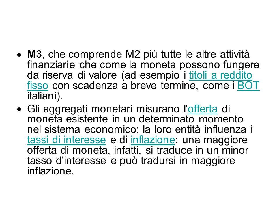  M3, che comprende M2 più tutte le altre attività finanziarie che come la moneta possono fungere da riserva di valore (ad esempio i titoli a reddito