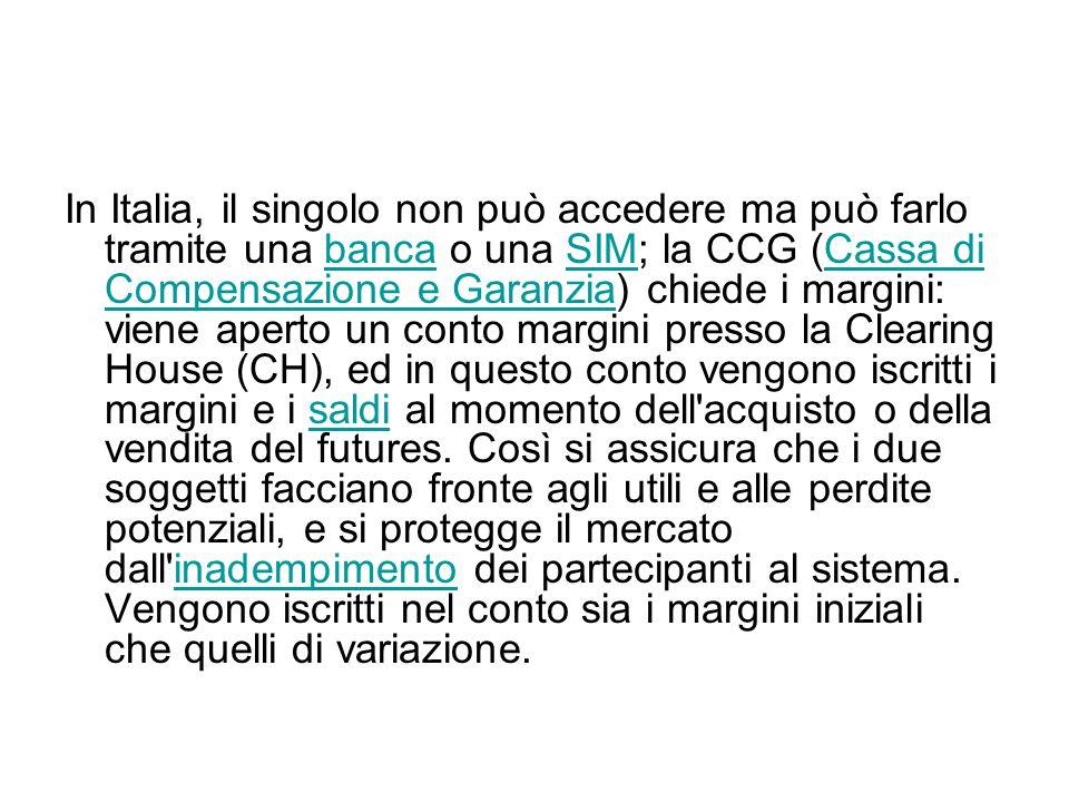 In Italia, il singolo non può accedere ma può farlo tramite una banca o una SIM; la CCG (Cassa di Compensazione e Garanzia) chiede i margini: viene ap