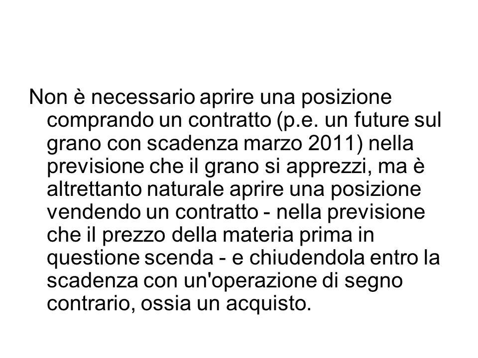 Non è necessario aprire una posizione comprando un contratto (p.e. un future sul grano con scadenza marzo 2011) nella previsione che il grano si appre