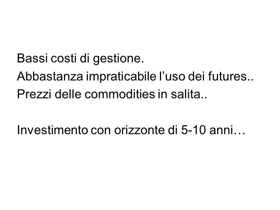 Bassi costi di gestione. Abbastanza impraticabile l'uso dei futures.. Prezzi delle commodities in salita.. Investimento con orizzonte di 5-10 anni…