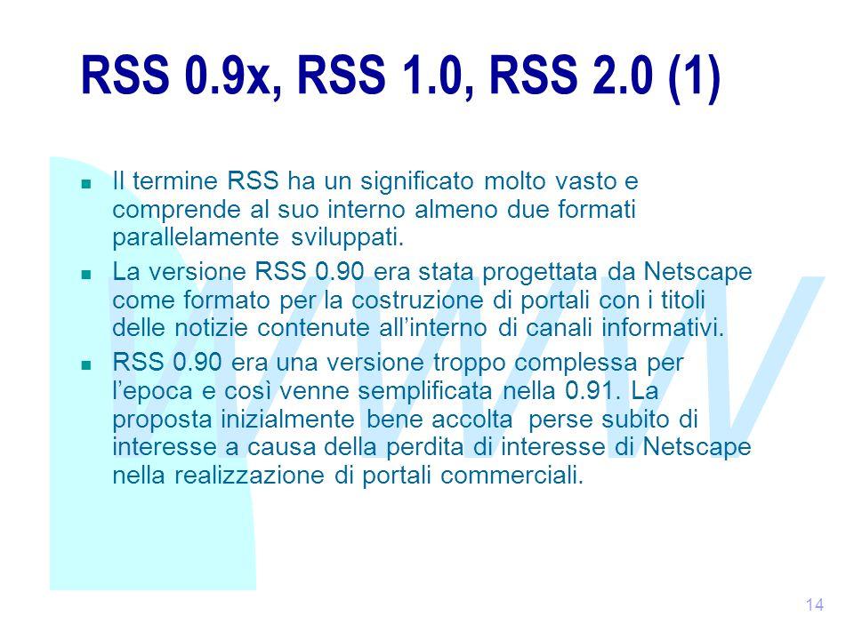 WWW 14 RSS 0.9x, RSS 1.0, RSS 2.0 (1) Il termine RSS ha un significato molto vasto e comprende al suo interno almeno due formati parallelamente sviluppati.