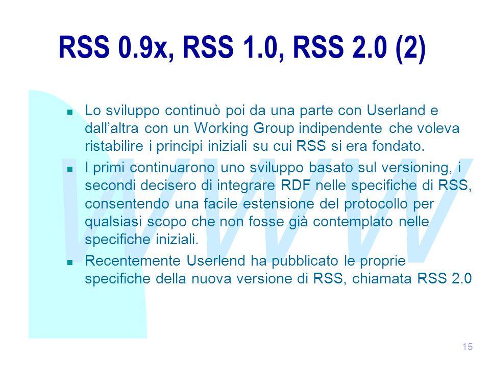 WWW 15 RSS 0.9x, RSS 1.0, RSS 2.0 (2) Lo sviluppo continuò poi da una parte con Userland e dall'altra con un Working Group indipendente che voleva ristabilire i principi iniziali su cui RSS si era fondato.