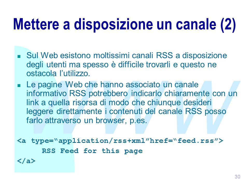 WWW 30 Mettere a disposizione un canale (2) Sul Web esistono moltissimi canali RSS a disposizione degli utenti ma spesso è difficile trovarli e questo ne ostacola l'utilizzo.