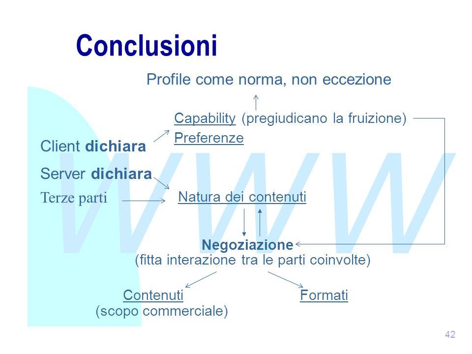 WWW 42 Conclusioni Client dichiara Capability (pregiudicano la fruizione) Server dichiara Natura dei contenuti Negoziazione Contenuti Profile come norma, non eccezione (fitta interazione tra le parti coinvolte) (scopo commerciale) Preferenze Formati Terze parti