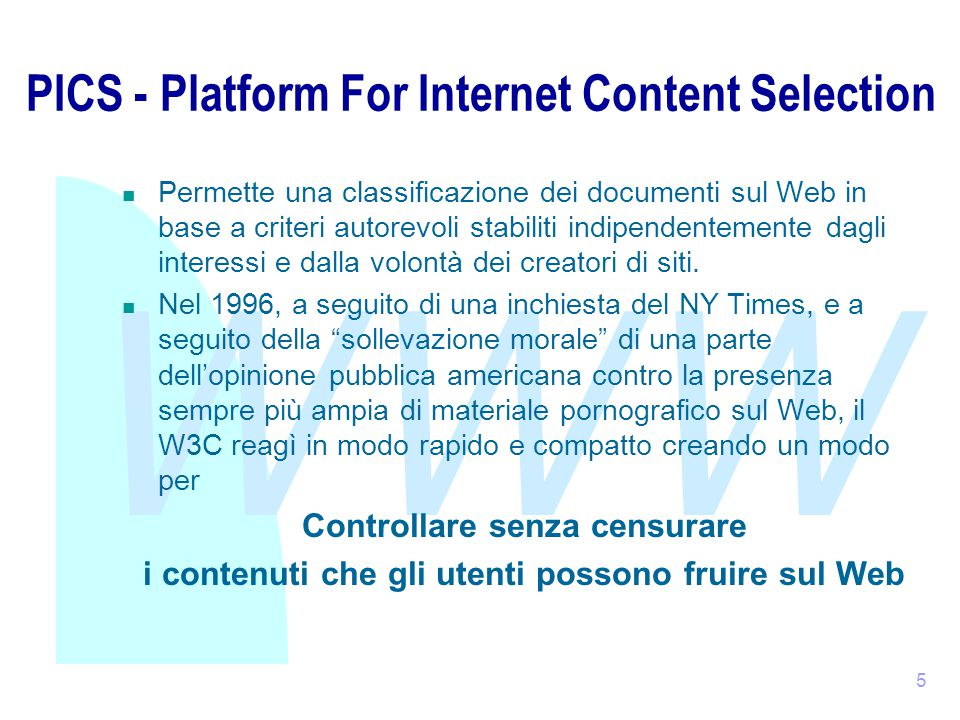 WWW 26 RSS 1.0 (2) vedi documenti originali Item: while commonly a news headline, item can just be anything: discussion posting, job listing, software patch, any object with an URI.