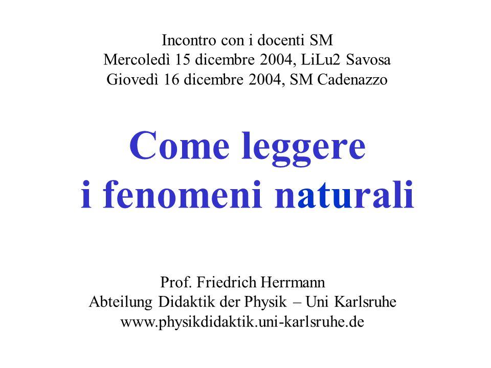Incontro con i docenti SM Mercoledì 15 dicembre 2004, LiLu2 Savosa Giovedì 16 dicembre 2004, SM Cadenazzo Come leggere i fenomeni naturali Prof.
