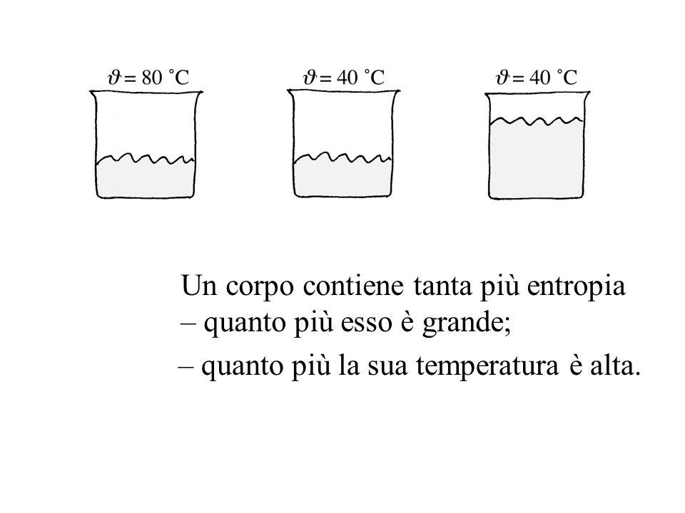 Un corpo contiene tanta più entropia – quanto più esso è grande; – quanto più la sua temperatura è alta.