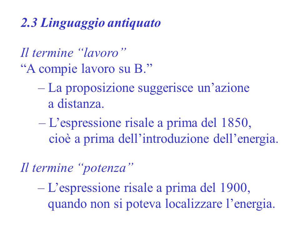 2.3 Linguaggio antiquato Il termine lavoro A compie lavoro su B. – L'espressione risale a prima del 1850, cioè a prima dell'introduzione dell'energia.