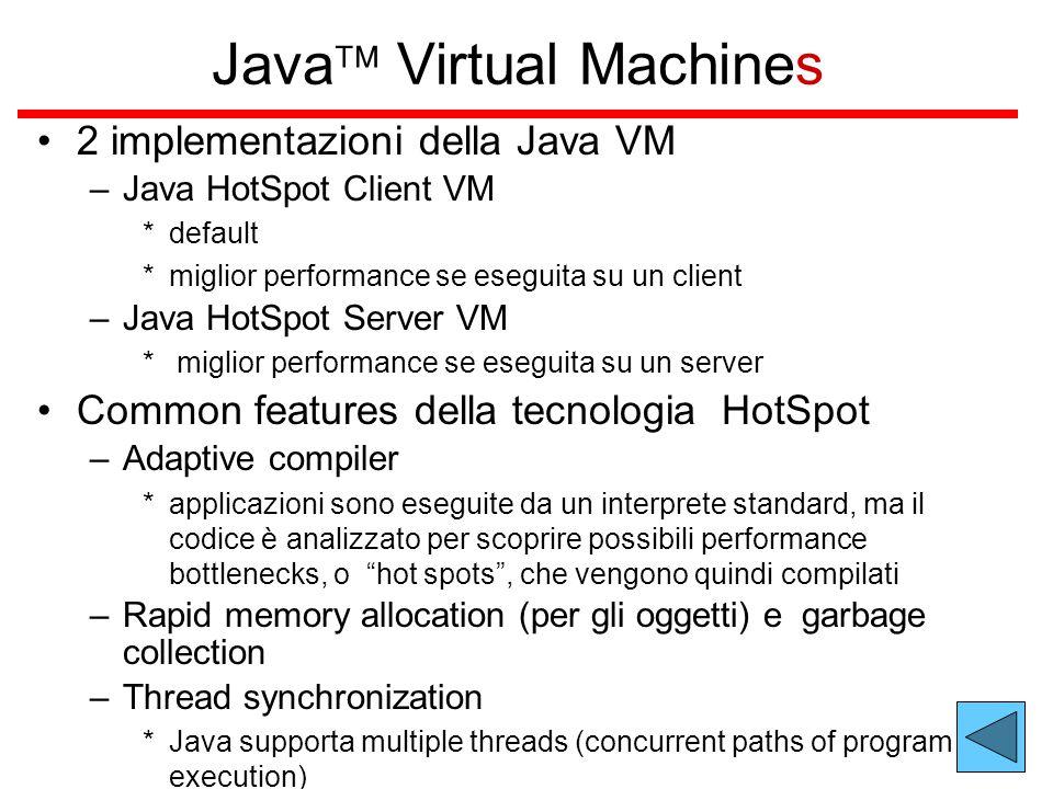 Java  Virtual Machines 2 implementazioni della Java VM –Java HotSpot Client VM *default *miglior performance se eseguita su un client –Java HotSpot Server VM * miglior performance se eseguita su un server Common features della tecnologia HotSpot –Adaptive compiler *applicazioni sono eseguite da un interprete standard, ma il codice è analizzato per scoprire possibili performance bottlenecks, o hot spots , che vengono quindi compilati –Rapid memory allocation (per gli oggetti) e garbage collection –Thread synchronization *Java supporta multiple threads (concurrent paths of program execution)