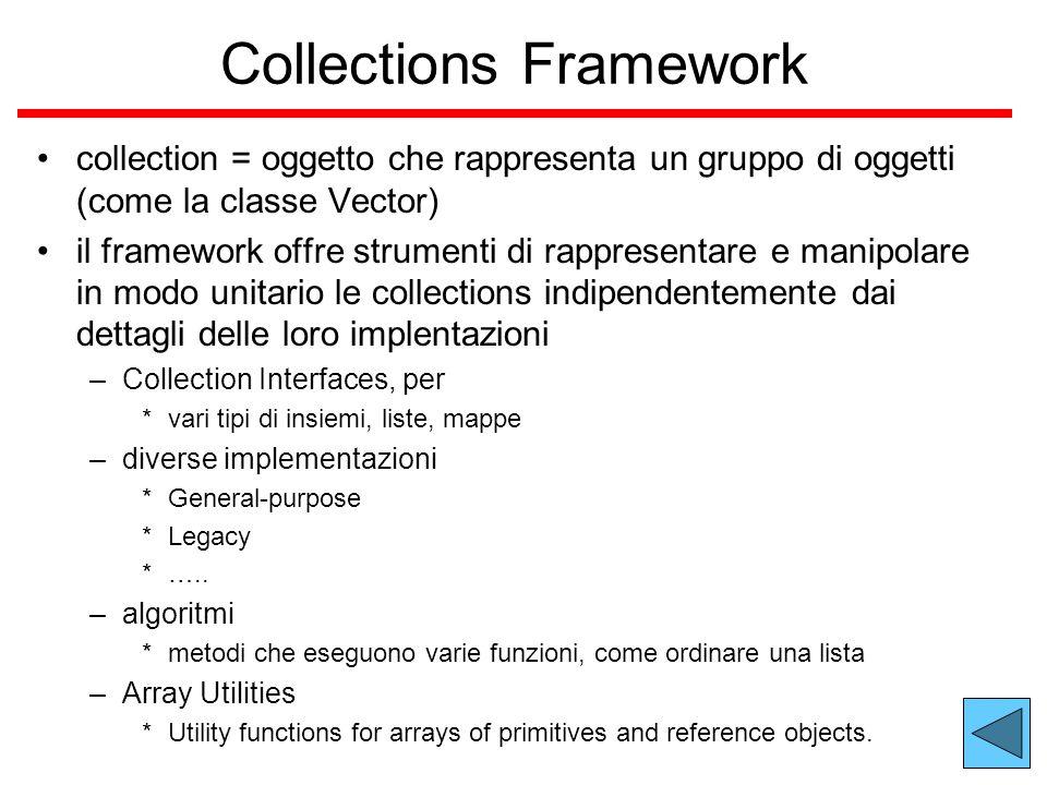 Collections Framework collection = oggetto che rappresenta un gruppo di oggetti (come la classe Vector) il framework offre strumenti di rappresentare e manipolare in modo unitario le collections indipendentemente dai dettagli delle loro implentazioni –Collection Interfaces, per *vari tipi di insiemi, liste, mappe –diverse implementazioni *General-purpose *Legacy *…..
