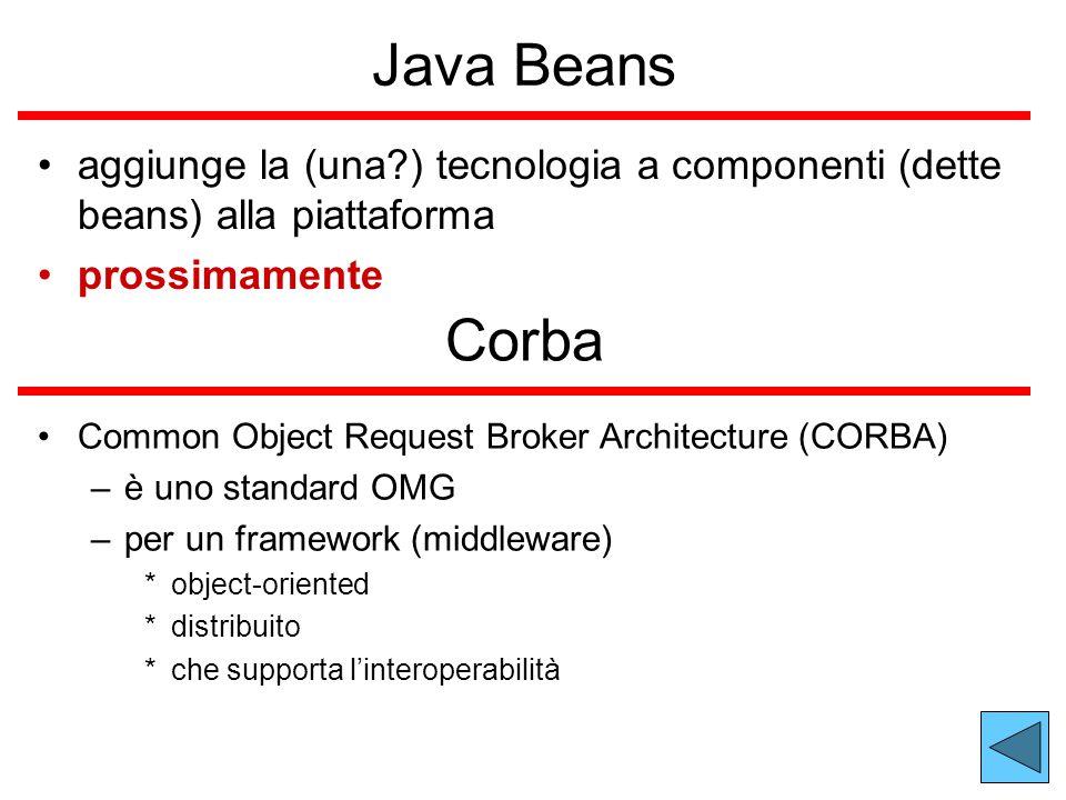 Java Beans aggiunge la (una?) tecnologia a componenti (dette beans) alla piattaforma prossimamente Corba Common Object Request Broker Architecture (CORBA) –è uno standard OMG –per un framework (middleware) *object-oriented *distribuito *che supporta l'interoperabilità