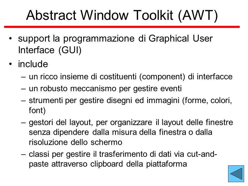 Abstract Window Toolkit (AWT) support la programmazione di Graphical User Interface (GUI) include –un ricco insieme di costituenti (component) di interfacce –un robusto meccanismo per gestire eventi –strumenti per gestire disegni ed immagini (forme, colori, font) –gestori del layout, per organizzare il layout delle finestre senza dipendere dalla misura della finestra o dalla risoluzione dello schermo –classi per gestire il trasferimento di dati via cut-and- paste attraverso clipboard della piattaforma