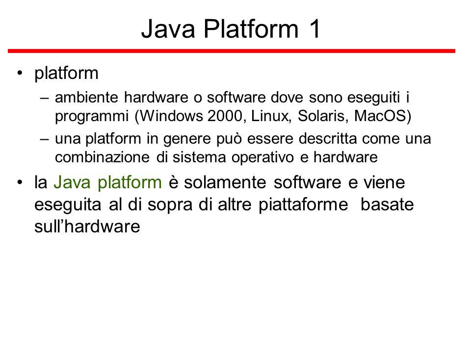 Java Platform 2 consiste di – Java Virtual Machine (Java VM) – Java Application Programming Interface (Java API) Java API –collezione di software components/artifacts pronti per l'uso, es.