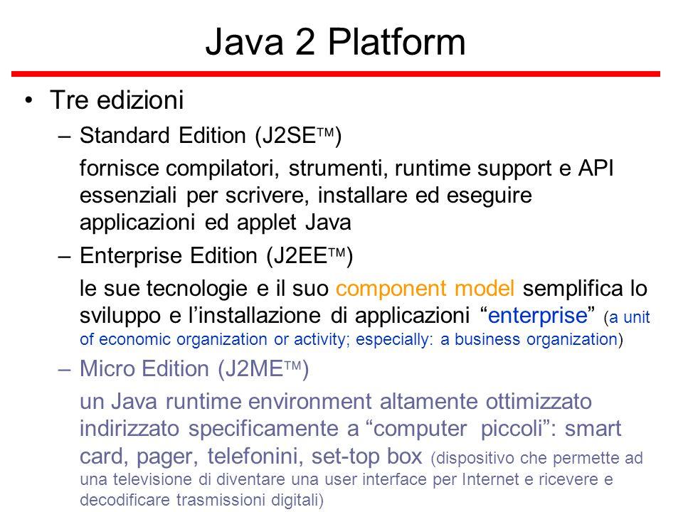 JDBC  non un acronimo, ma si può pensare come Java Database Connectivity è una API (Java puro) per accedere virtualmente ogni genere di dati tabulari: database relazionali (anche al sapore OO), file contenenti data tabulari, rende facile mandare query SQL (qualunque dialetto) con JDBC è possibile scrivere applicazioni eseguibili su ogni Java VM non dipendenti dal tipo di database usato Open Database Connectivity (ODBC)