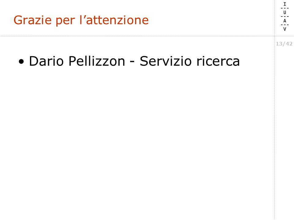 13/42 Grazie per l'attenzione Dario Pellizzon - Servizio ricerca