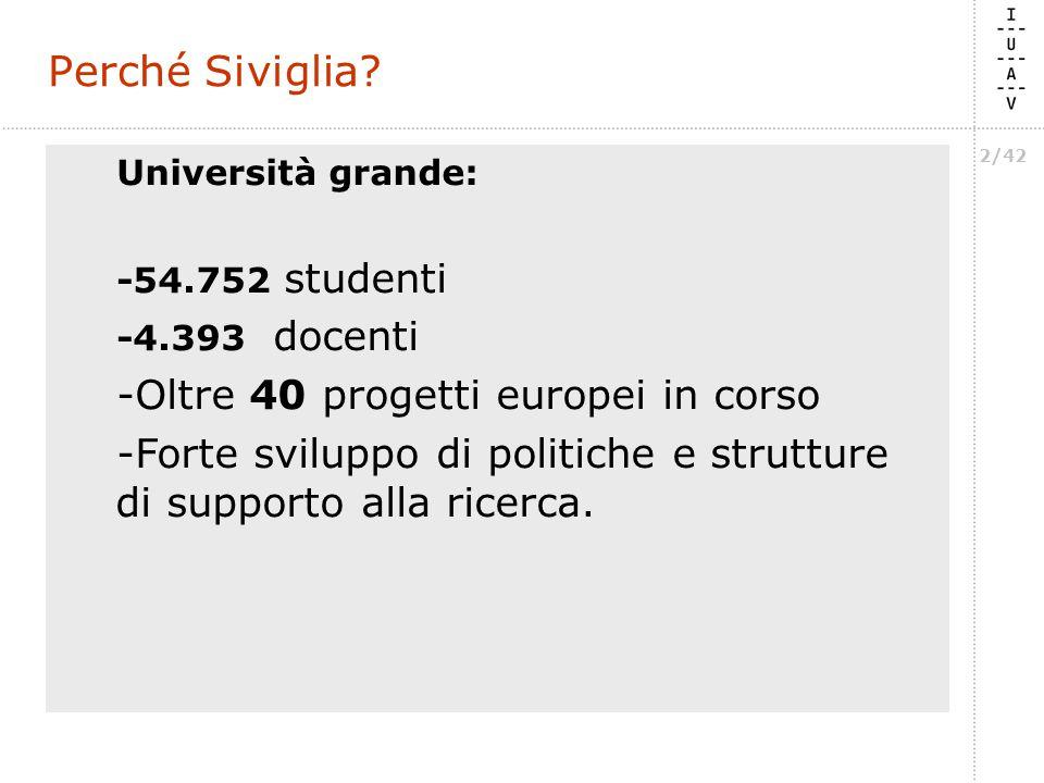 2/42 Università grande: -54.752 studenti -4.393 docenti -Oltre 40 progetti europei in corso -Forte sviluppo di politiche e strutture di supporto alla ricerca.