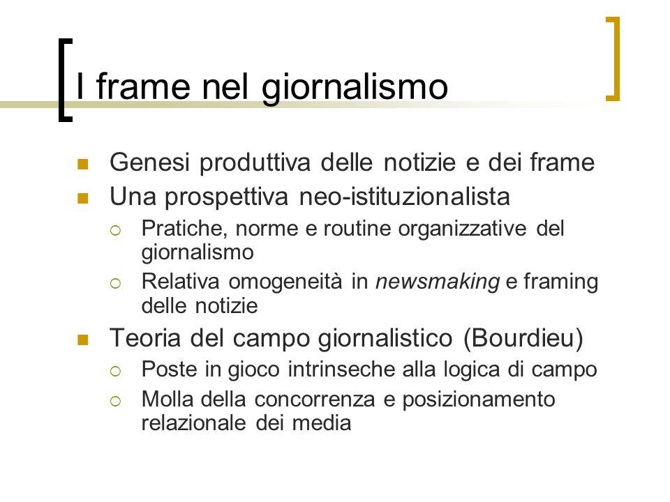 I frame nel giornalismo Genesi produttiva delle notizie e dei frame Una prospettiva neo-istituzionalista  Pratiche, norme e routine organizzative del