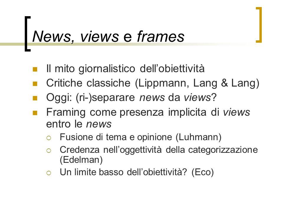 News, views e frames Il mito giornalistico dell'obiettività Critiche classiche (Lippmann, Lang & Lang) Oggi: (ri-)separare news da views? Framing come