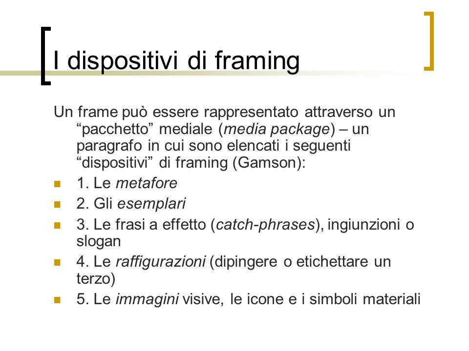 """I dispositivi di framing Un frame può essere rappresentato attraverso un """"pacchetto"""" mediale (media package) – un paragrafo in cui sono elencati i seg"""