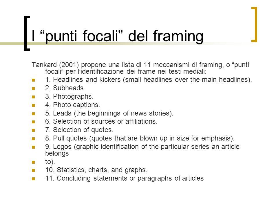 "I ""punti focali"" del framing Tankard (2001) propone una lista di 11 meccanismi di framing, o ""punti focali"" per l'identificazione dei frame nei testi"