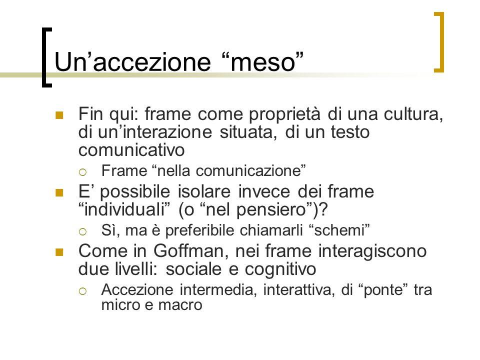 """Un'accezione """"meso"""" Fin qui: frame come proprietà di una cultura, di un'interazione situata, di un testo comunicativo  Frame """"nella comunicazione"""" E'"""