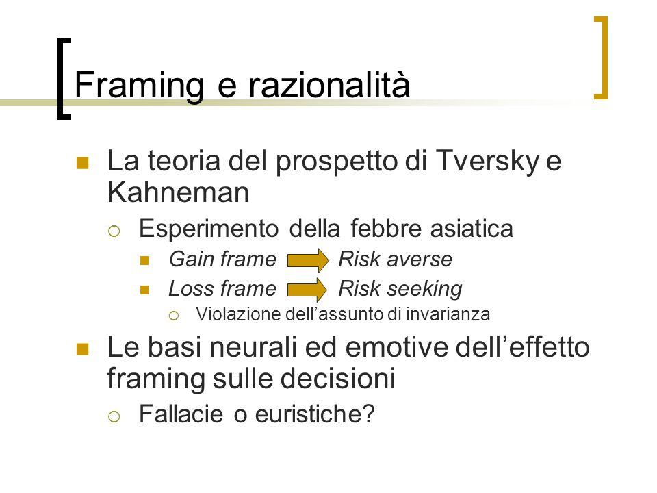 Framing e razionalità La teoria del prospetto di Tversky e Kahneman  Esperimento della febbre asiatica Gain frameRisk averse Loss frame Risk seeking