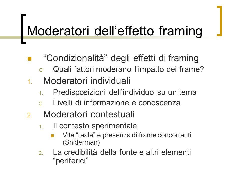 """Moderatori dell'effetto framing """"Condizionalità"""" degli effetti di framing  Quali fattori moderano l'impatto dei frame? 1. Moderatori individuali 1. P"""