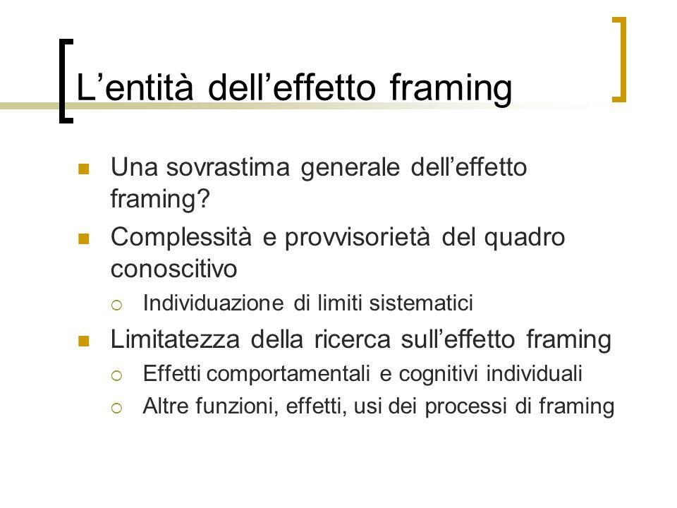 L'entità dell'effetto framing Una sovrastima generale dell'effetto framing? Complessità e provvisorietà del quadro conoscitivo  Individuazione di lim