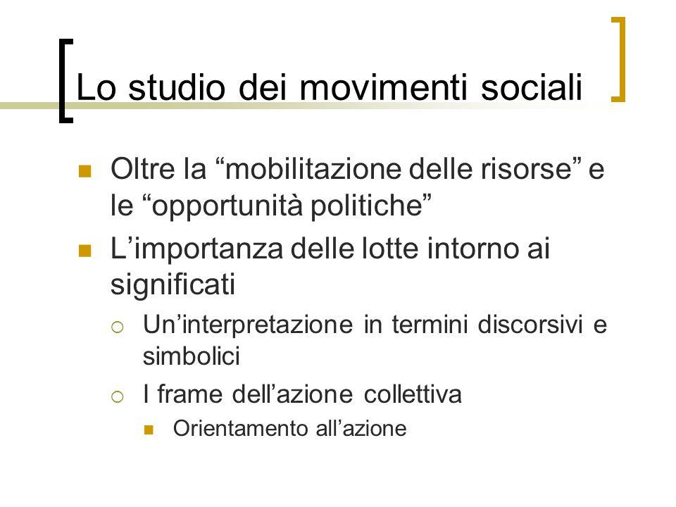 """Lo studio dei movimenti sociali Oltre la """"mobilitazione delle risorse"""" e le """"opportunità politiche"""" L'importanza delle lotte intorno ai significati """