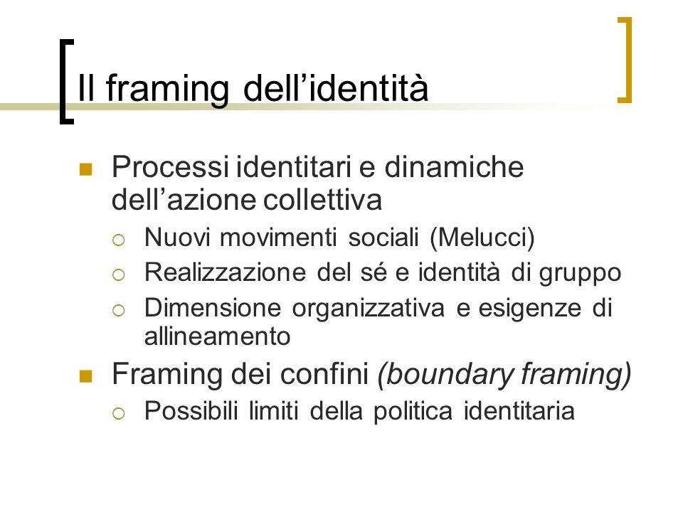 Il framing dell'identità Processi identitari e dinamiche dell'azione collettiva  Nuovi movimenti sociali (Melucci)  Realizzazione del sé e identità