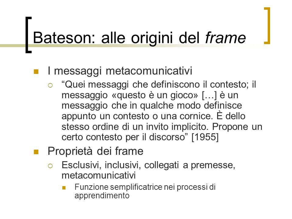 """Bateson: alle origini del frame I messaggi metacomunicativi  """"Quei messaggi che definiscono il contesto; il messaggio «questo è un gioco» […] è un me"""