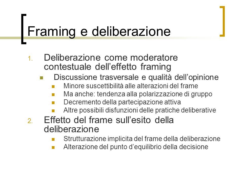 Framing e deliberazione 1. Deliberazione come moderatore contestuale dell'effetto framing Discussione trasversale e qualità dell'opinione Minore susce