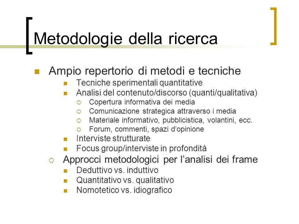 Metodologie della ricerca Ampio repertorio di metodi e tecniche Tecniche sperimentali quantitative Analisi del contenuto/discorso (quanti/qualitativa)